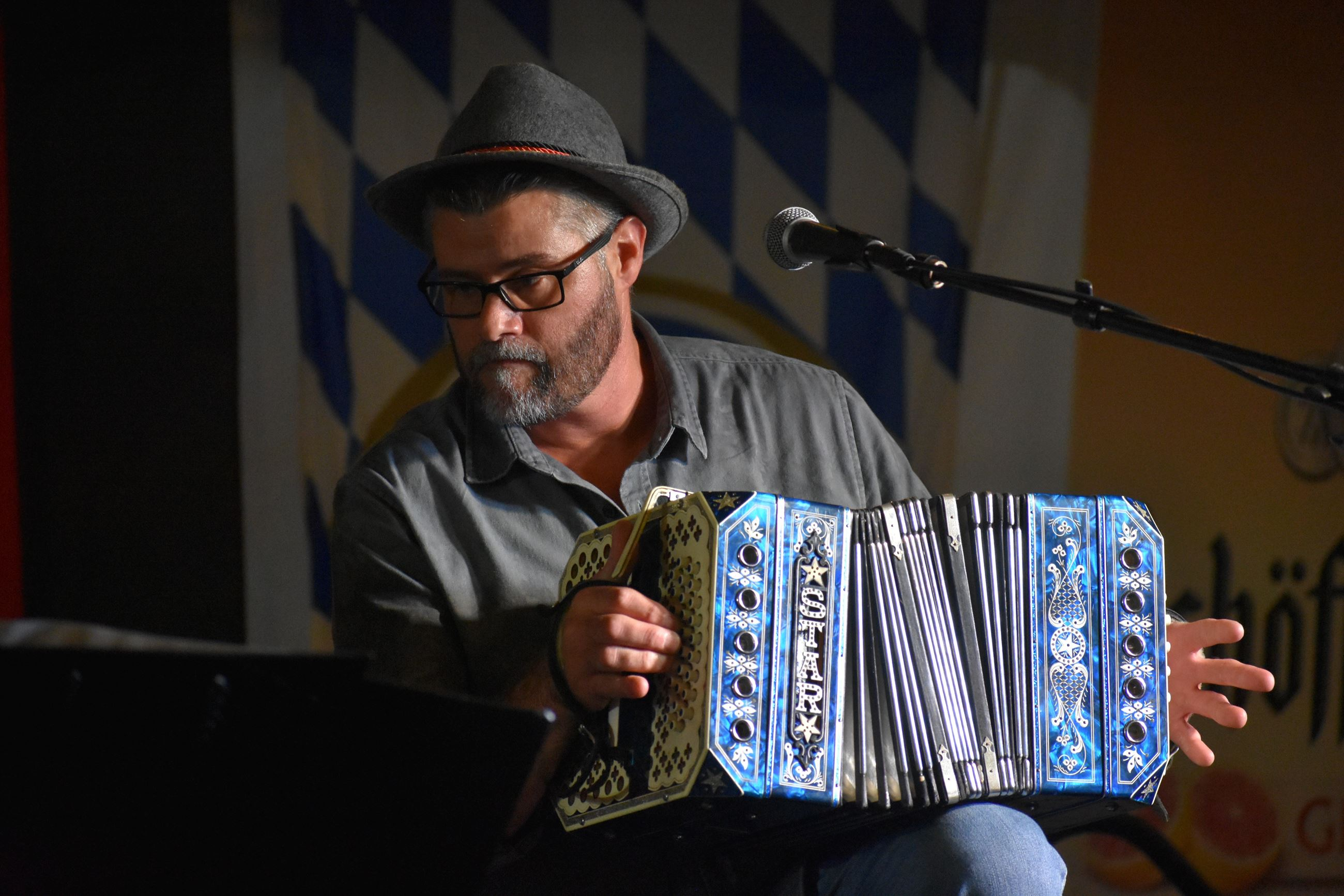 Man playing an accordion at Oktoberfest